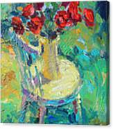 Sunny Impressionistic Rose Flowers Still Life Painting Canvas Print