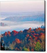 Sunrise And Fog In The Cumberland River Valley Canvas Print