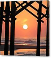 Sunrise At Folly Pier Canvas Print