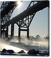 Sunrise Blue Water Bridges Fog Canvas Print
