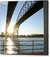 Sunrise Blue Water Bridges Canvas Print