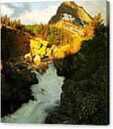 Sunrise On A Waterfall At Glacier  Canvas Print