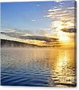 Sunrise On Foggy Lake Canvas Print