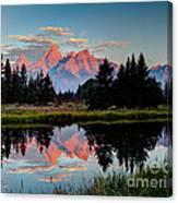 Sunrise On The Tetons Canvas Print
