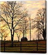 Sunrise Over A Barn Canvas Print