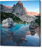 Sunrise Over Peak In Dolomites Canvas Print
