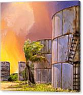 Sunset And Abandoned Oil Tanks Canvas Print