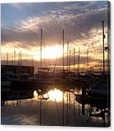 Sunset And Boats Canvas Print