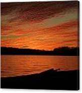 Sunset And Kayak Canvas Print