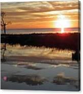 Sunset And Tidal Pool Cape Charles Va Canvas Print