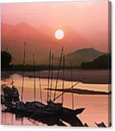 sunset at Mae Khong river Canvas Print