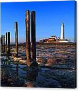 Sunset At St. Mary's Lighthouse Canvas Print