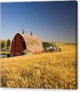 Sunset Barn And Wheat Field Steptoe Canvas Print