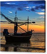 Sunset Fisherman Boat Huahin Thailand Canvas Print