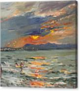 Sunset In Aegean Sea Canvas Print