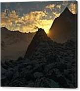 Sunset In The Stony Mountains Canvas Print
