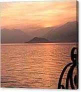 Sunset On Lake Como Canvas Print