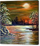 Sunset On Lake Windsor Canvas Print