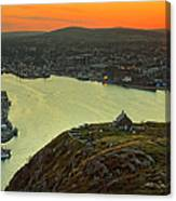 Sunset On St. John's Harbour Canvas Print