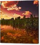 Sunset Over A Lake Canvas Print