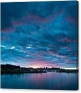 Sunset Over A River  Canvas Print