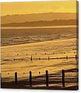 Sunset Over Beach In Winter Youghal Canvas Print