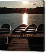 Sunset Over Bear Pond Sabattis Adventure Camp Canvas Print