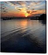 Sunset Over Gulfport Casino In Gulfport Florida Canvas Print