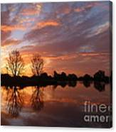 Sunset Over Lake At Finley Canvas Print