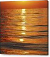 Sunset Over Ocean Horizon Canvas Print