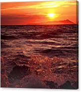 Sunset Over The Waves Canvas Print