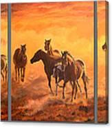 Sunset Run Triptych Canvas Print