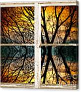 Sunset Tree Silhouette Abstract Picture Window View Canvas Print