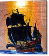 Sunship Galleon On Wood Canvas Print