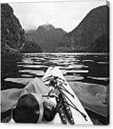 Supplies On The End Of A Kayak Going Canvas Print