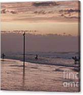 Surfers Pelicans And Pink Sky Canvas Print
