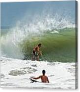 Surfing In The Wake Of Hurricane Irene Canvas Print