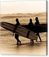 Surfs Up Sephia Canvas Print