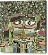 Surprize Drops Surrealistic Green Brown Face With  Liquid Drops Large Eyes Mustache  Canvas Print