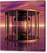 Metal Cage Floating In Water Canvas Print