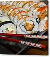 Sushi And Chopsticks Canvas Print