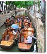 Suzhou Canal Traffic Jam Canvas Print