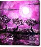 Swan In A Magical Lake Canvas Print