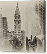 Swann Memorial Fountain In Sepia Canvas Print