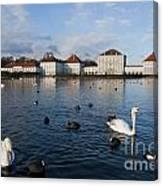 Swans Seen At Nymphenburg Palace Canvas Print