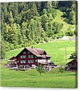 Swiss Village In The Alps Canvas Print