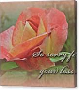 Sympathy Greeting Card - Peach Rose Canvas Print