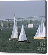 Tacking In Newport  Canvas Print