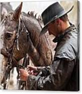 Tacking Up In The Rain Canvas Print