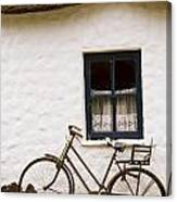Tahtched Cottage And Bike Canvas Print